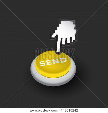 Yellow 'Send' push button sign emblem vector illustration. Hand with touching a button or pointing finger - dark version.