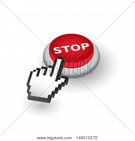 Red 'Stop' push button sign emblem vector illustration. Hand with touching a button or pointing finger.