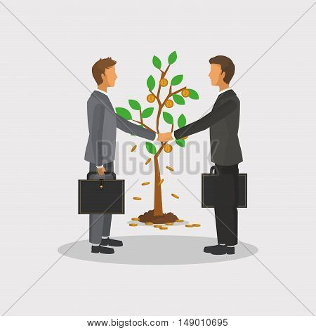 executive person in suit with tree sprout business related icons image vector illustration