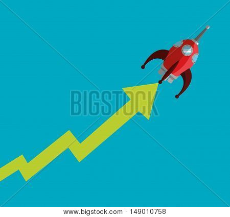 flat design rising rocket and arrow business related icons image vector illustration