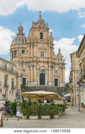 Ragusa, Sicily, Jul, 26. 2016 view from the square in Ragusa at the church of St George (Duomo San Giorgio)