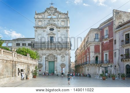 Medieval Episcopal Palace on Piazza Duomo in Syracuse, island  Sicily, Italy on Jun. 26. 2016