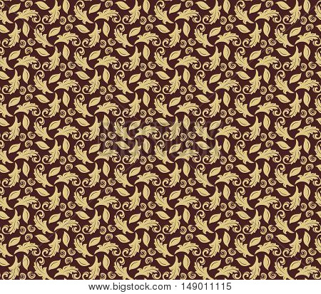 Floral vector golden ornament. Seamless abstract classic pattern with flowers