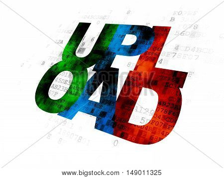 Web development concept: Pixelated multicolor text Upload on Digital background