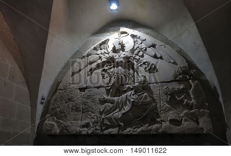 Mont Saint Michel France - September 8 2016 Benedictine Abbey of Mont Saint-Michel in Normandy France. Old bas-relief on the wall.