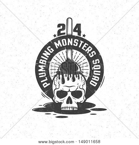 Skull and plunger in vintage retro style. Plumbing service emblem logo. Grunge texture and background on separate layers.