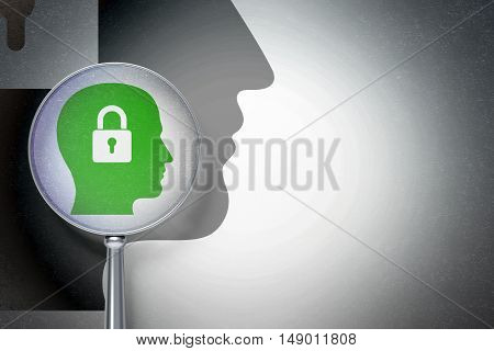 Business concept: magnifying optical glass with Head With Padlock icon on digital background, empty copyspace for card, text, advertising, 3D rendering