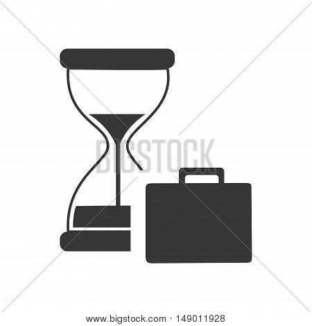 hourglass or sandclock with business briefcase icon silhouette. vector illustration