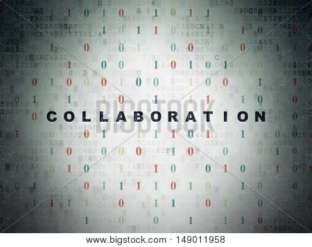 Business concept: Painted black text Collaboration on Digital Data Paper background with Binary Code