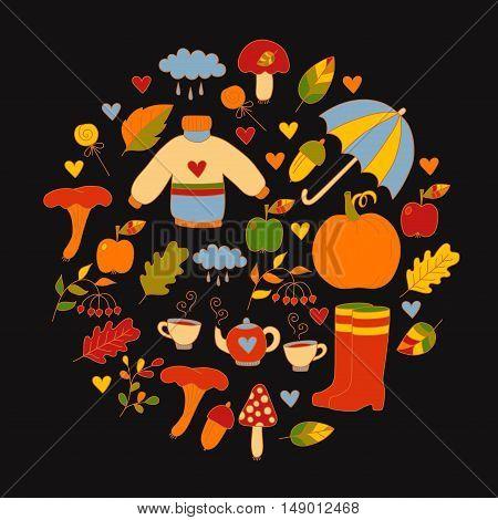 Cute doodles of fall autumn colorful circle postcard with different seasonal symbols like leafs umbrella apples mushrooms acorn