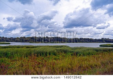 View of the rural landscape and the river a cloudy summer day. Sok river near Samara city, Russia