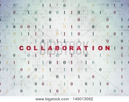 Business concept: Painted red text Collaboration on Digital Data Paper background with Binary Code