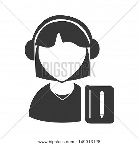 avatar woman online support call center with notebook icon silhouette. vector illustration