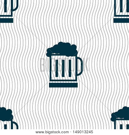 Beer Glass Icon Sign. Seamless Pattern With Geometric Texture. Vector