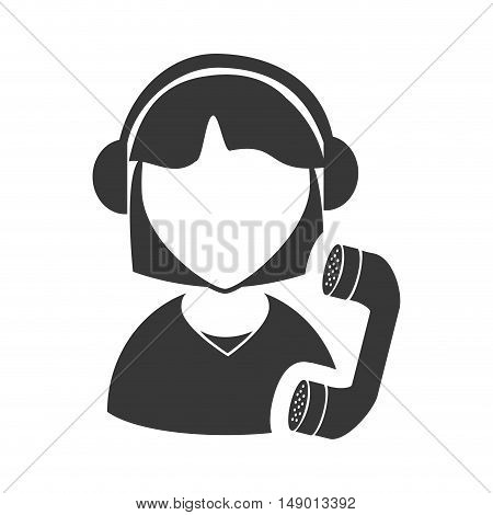 avatar woman online support call center with telephone headset icon silhouette. vector illustration