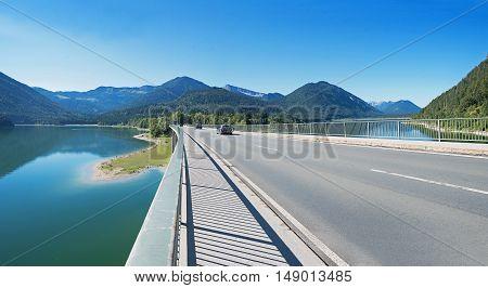 Bridge Over Dam Lake Sylvenstein, With Cars.