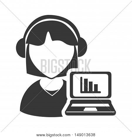 avatar woman online support call center with laptop computer with charts icon silhouette. vector illustration