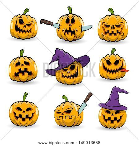 Colored isolated halloween pumpkins with different emotions in witch hat and without. Vector illustration.