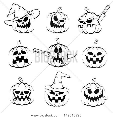 Halloween pumpkin set. Jack-o'-lantern. Black-and-white isolated images in stamp style.