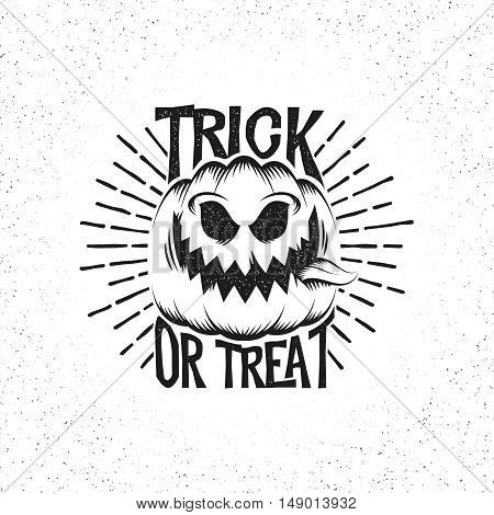 Smiling Halloween pumpkin with his tongue hanging out. Lettering trick or treat in vintage retro style.