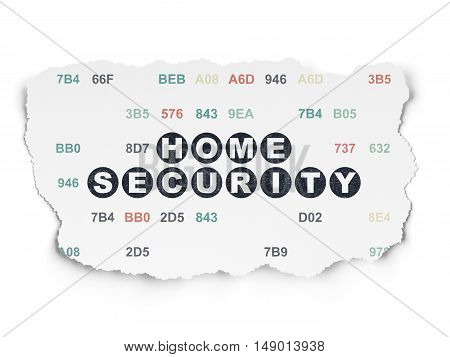 Security concept: Painted black text Home Security on Torn Paper background with  Hexadecimal Code