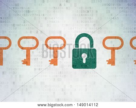 Privacy concept: row of Painted orange key icons around green closed padlock icon on Digital Data Paper background