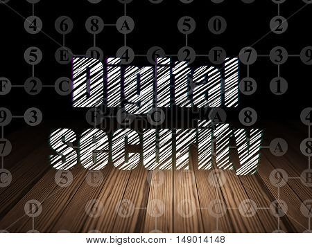 Privacy concept: Glowing text Digital Security in grunge dark room with Wooden Floor, black background with Scheme Of Hexadecimal Code