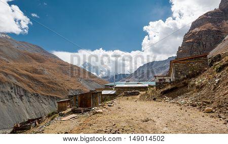 Traditional tea house along a mountain path. Annapurna circuit in Nepal.