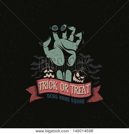 Dead Man's Hand with a Halloween pumpkin ribbon and bats. Trick or treat logo October 31. Vector illustration. A layered.