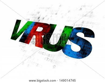 Security concept: Pixelated multicolor text Virus on Digital background
