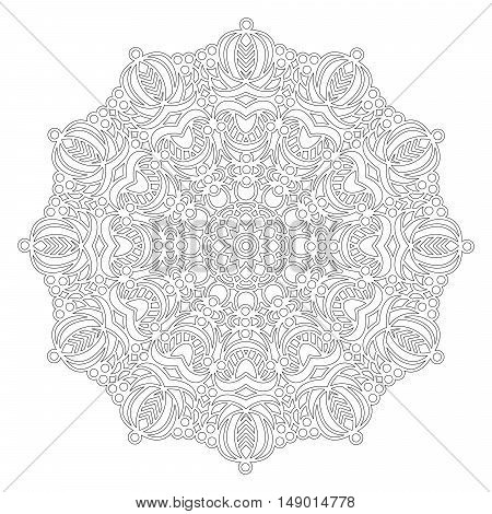 vector black and white round geometric floral mandala - adult coloring book page