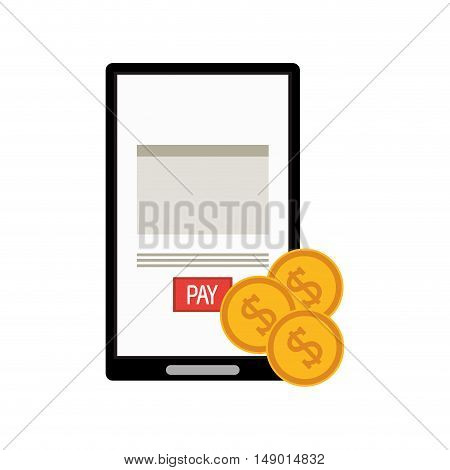 flat design cellphone and money  icon vector illustration