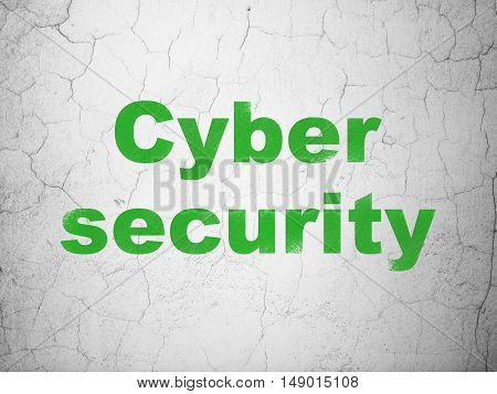 Protection concept: Green Cyber Security on textured concrete wall background