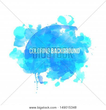 Watercolor blue new year coloring background Eps10