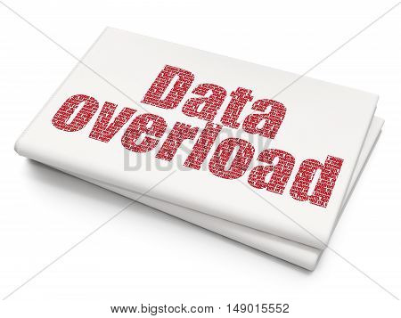 Data concept: Pixelated red text Data Overload on Blank Newspaper background, 3D rendering