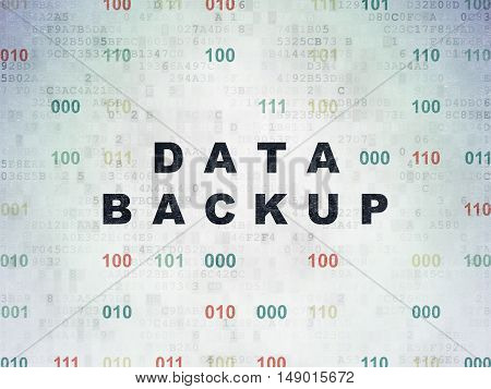 Data concept: Painted black text Data Backup on Digital Data Paper background with Binary Code