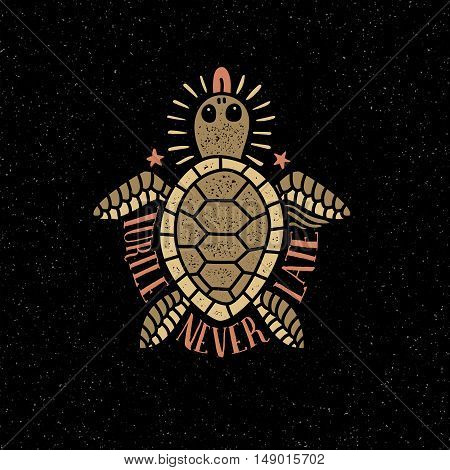 Colored sea turtle shows tongue on a dark background in retro style. Textures and background on separate layers.