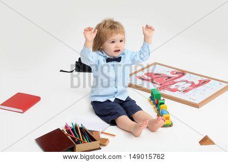 Little Education Boy Child Isolated
