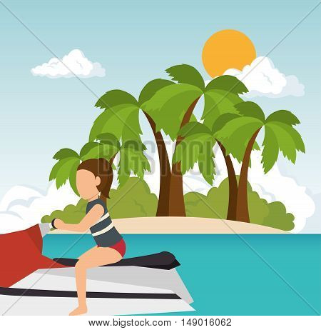 woman riding jet ski on summer island background. vector illustration