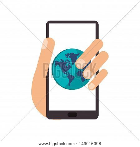 flat design cellphone and earth globe icon vector illustration