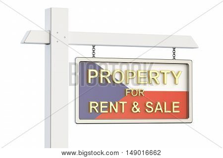 Property for sale and rent in Czech Republic concept. Real Estate Sign 3D rendering isolated on white background