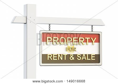 Property for sale and rent in Egypt concept. Real Estate Sign 3D rendering isolated on white background