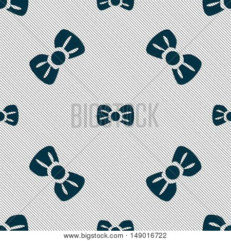 Bow Tie Icon Sign. Seamless Pattern With Geometric Texture. Vector