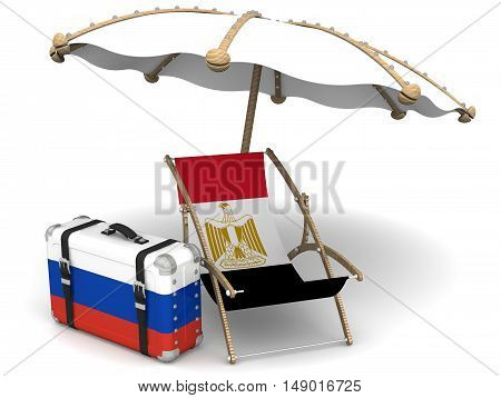 Russian tourists in Egypt. Sunbed with a flag of Egypt a suitcase with the flag of the Russian Federation and a beach umbrella on the white surface. The concept of vacation of Russians in Egypt. Isolated. 3D Illustration