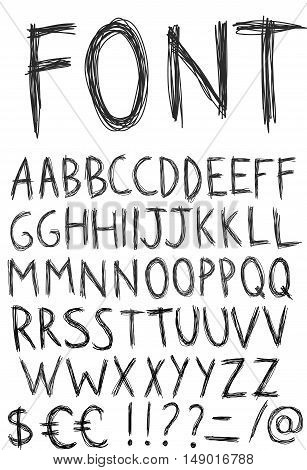 Hand drawn alphabet. Sketch style. Vector Illustration.