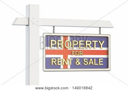 Property for sale and rent in Iceland concept. Real Estate Sign 3D rendering isolated on white background