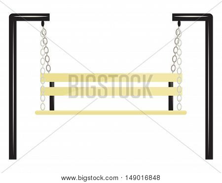 Yellow bench-swing on a white background. Vector illustration