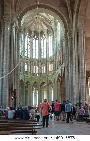 Mont Saint Michel France - September 8 2016 Benedictine Abbey of Mont Saint-Michel in Normandy France. The interior of one of the rooms