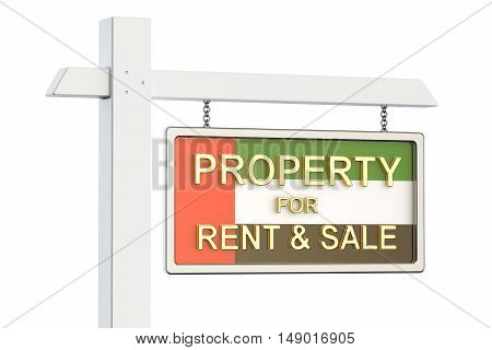 Property for sale and rent in UAE concept. Real Estate Sign 3D rendering isolated on white background