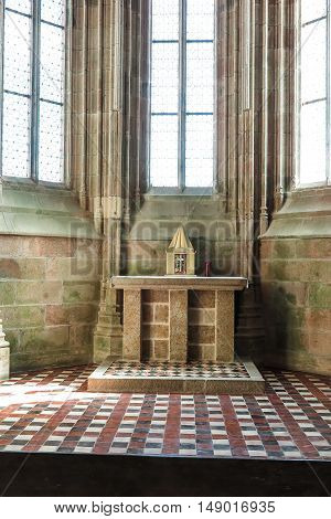 Mont Saint Michel France - September 8 2016 Benedictine Abbey of Mont Saint-Michel in Normandy France. A modest stone altar